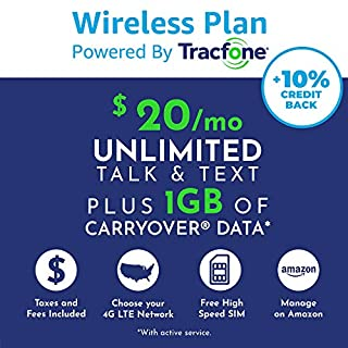($20 eGift Card Promotion) Tracfone Monthly Carrier Subscription for Unlimited Talk, Text, 1GB Data plus Carryover Data Plan + Tracfone SIM Kit (CDMA Compatible)