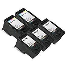 NUINKO 5 Pack Remanufactured Canon PG-240 Ink Cartridge Black Canon CL-241 Ink Cartridge Color for Canon PIXMA MG3220 PIXMA MG3520 PIXMA MX452 PIXMA MG2220 PIXMA MG3222 PIXMA MX472 PIXMA MG2120 PIXMA MX522 PIXMA MX459 PIXMA MG3522 PIXMA MX432 PIXMA MX512 PIXMA MG3122 PIXMA MX392 PIXMA MG4220 PIXMA MG3120 PIXMA MX532 PIXMA MX479 Inkjet Printers