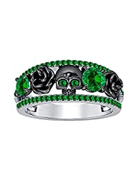 Forever Collection Black Rose Design Band Skull Ring Created Round Cut Green Emerald 925 Sterling Silver Plated Plated Alloy