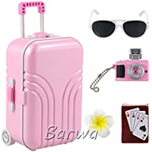 Barwa Travel Set Suitcase Pink Suitcase and Camera with Sunglasses Flower Hair Clip and Play Card for 18 inch American Girl Doll