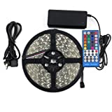 XKTTSUEERCRR 5M 5050 SMD RGB and Cool White Mixed Color Changing Flexible LED Strip Light 300 LEDs Waterproof Festival Decorative LED Light with 40-key Multi-funtion RGBW LED Strip Remote Controller + Power Supply Full Kit RGBW Mixed Color Flexible