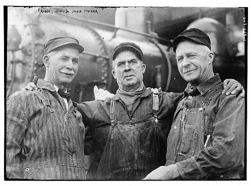 Photo: Unrestrained,William,John Maher,three men in overalls,smiling,Bain News Service