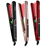 "HTG Professional Hair Straightener Infared Flat Iron for All Hair Types with 1"" Floating Plate and 450 °F Salon High quality Dual Voltage 100-240V Plus Digital Display and Automatic 1 hour shutt off Hair Straightener Far Infared Technolody Flat Iron HT087 (Gold)"