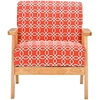 Baxton Studio Aimon Mid Century Orange Patterned Fabric Armchair