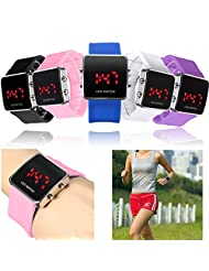 Square Case Silicone Band Digital LED Display Date Unisex Sport Watch