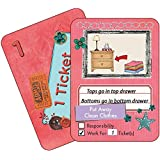 NEATLINGS Chore Cards Self-Care Deck ● 34 Self-Care Chores & 21 Ticket Cards ● Reward & Responsibility ● Pink