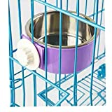 RUBYHOME Dog Bowl Feeder Pet Puppy Food Water Bowl, 2-in-1 Plastic Bowl & Stainless Steel Bowl, Removable Hanging Cat Rabbit Bird Food Basin Dish Perfect for Crates & Cages, Purple