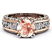 BKK Silver rings White Topaz& Morganite 925 Silver Women Jewelry Wedding Engagement Ring (8)