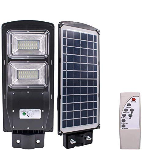 CINAGRO – 40W Water Proof IP65, Cool Light 6500k Solar LED Street Light with Integrated Solar Panel and Batteries & Remote Controller