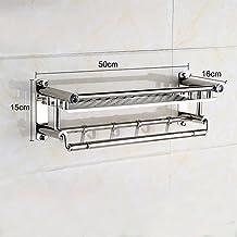 Yontree 2 Tiers Stainless Steel Bathroom Wall Mounted Rack Shelf Shower Storage Towel Bars Basket L-19.7 In.