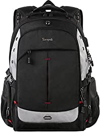 Large laptop Backpack,Durable Computer Travel Backpacks with Waterproof Rain Cover and USB Charging Port,Big Student College School Bag for Women,Men with Multi-Compartments Fit 17-Inch Notebook,Black