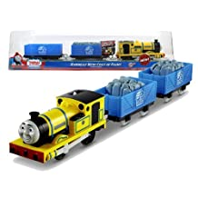 """Fisher Price Year 2012 Thomas and Friends Greatest Moments Series """"Blue Mountain Mystery"""" Trackmaster Motorized Railway Battery Powered Tank Engine 3 Pack Train Set - RHENEAS' NEW COAT OF PAINT with Rheneas Engine, Blue Mountain Quarry Truck with Stone and Blue Mountain Quarry Truck (X0765)"""