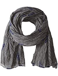 Armani Jeans Men's Cotton And Viscose Gauze Scarf With Eagle Logo