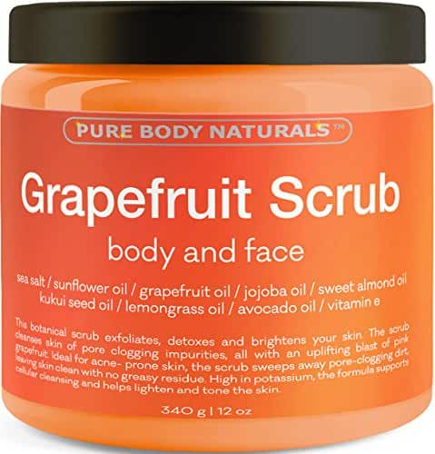 Grapefruit Scrub for Face and Body - Facial Scrub Exfoliator Cleans Unblocks Pores and Brightens Complexion - Body Exfoliator Detoxes and Protects Skin