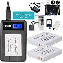 TOP-MAX 2X NB-6L NB-6LH Battery + Rapid USB Charger with LCD Screen for Canon SX710 HS,SX610 HS,SX520 HS,SX700 HS,SX600 HS,D30,SX500 IS
