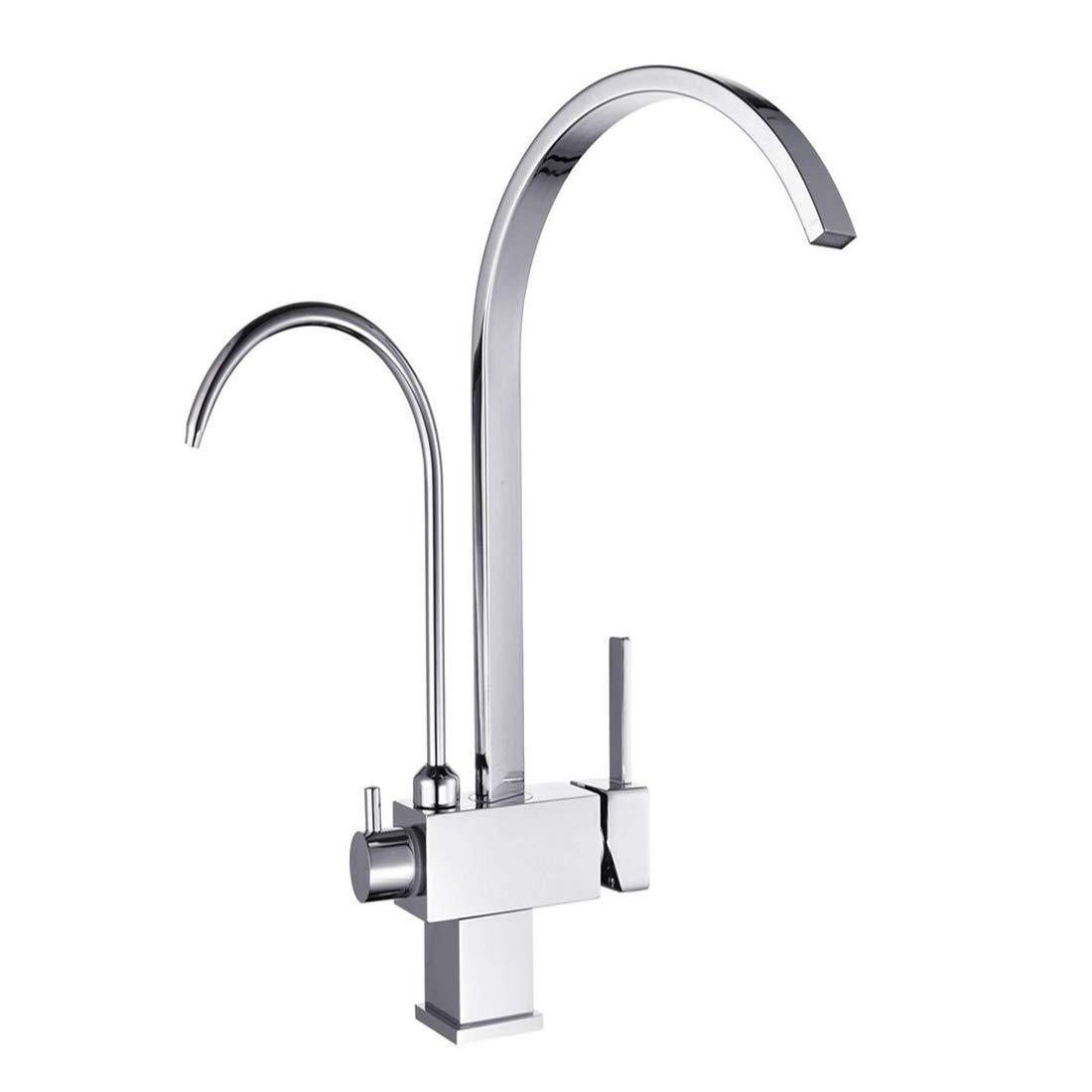 Wasserhahn Küchenarmatur Filterhahn 3-Wege-Tri-Flow-Wasser-Spülbecken-Mischbatterie Chrom Pfefferminz