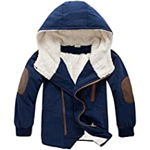 ZLOLIA Baby Clothes Autumn Winter Boys Hooded With Fur Outerwear Warm Jacket Long Coat (160, Navy)