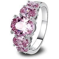 Amethyst Pink Blue White Gemstone Women AAA Silver Ring Size 6 7 8 9 10 11 12 13 (12)