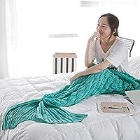 Mermaid Blanket Crochet Fish Tail Rug for Adult Air...
