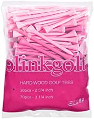 Pink Golf Tees for Women Made of Unbreakable Wood 3 1/4 Inch and 2 3/4 Inch Total 100 Count