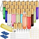 Essential Oil Roller Bottles, 24 Pack 12 Color 10 ml Glass Roller Bottles with Stainless Steel Roller Balls and Golden Hanging Lids(3 Dropper, 6 Extra Roller Balls, 2 Bottle Opener Included)?