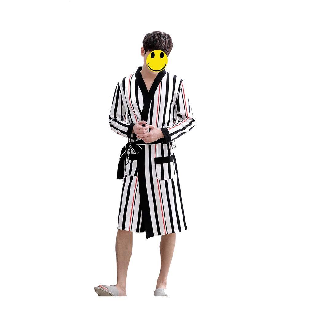 B LIAN Couple Nightgown Spring and Autumn Cotton LongSleeved Fashion Striped Bathrobe Women's Summer Cotton Bathrobe (color   B, Size   XXL)