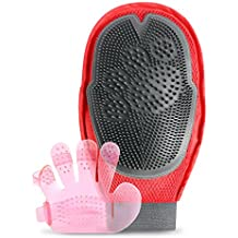 iVAPO 2 in 1 Pet Grooming Glove Mitt Dual Side Pet Hair Remover Glove with Five-finger Comb Shower Cleaning Massage Bath Brush Set Pet Grooming Massage Glove for Dogs Cats