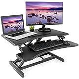 VIVO Black Height Adjustable Standing Desk Monitor Riser Workstation | 33 Sit Stand Ergonomic Tabletop Converter (DESK-V000N)