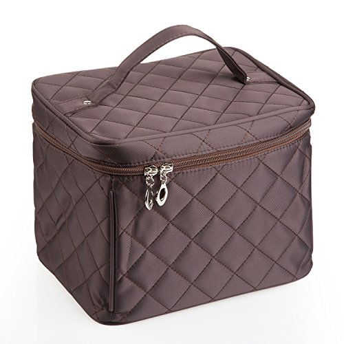 EN'DA big size Nylon Cosmetic bag with quality zipper single layer travel Makeup bags (Coffee)