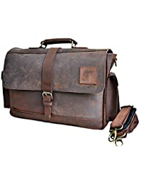 "16"" Large dark Leather bag for men messenger bag shoulder bag mens Laptop Bag office bag cross body bag"