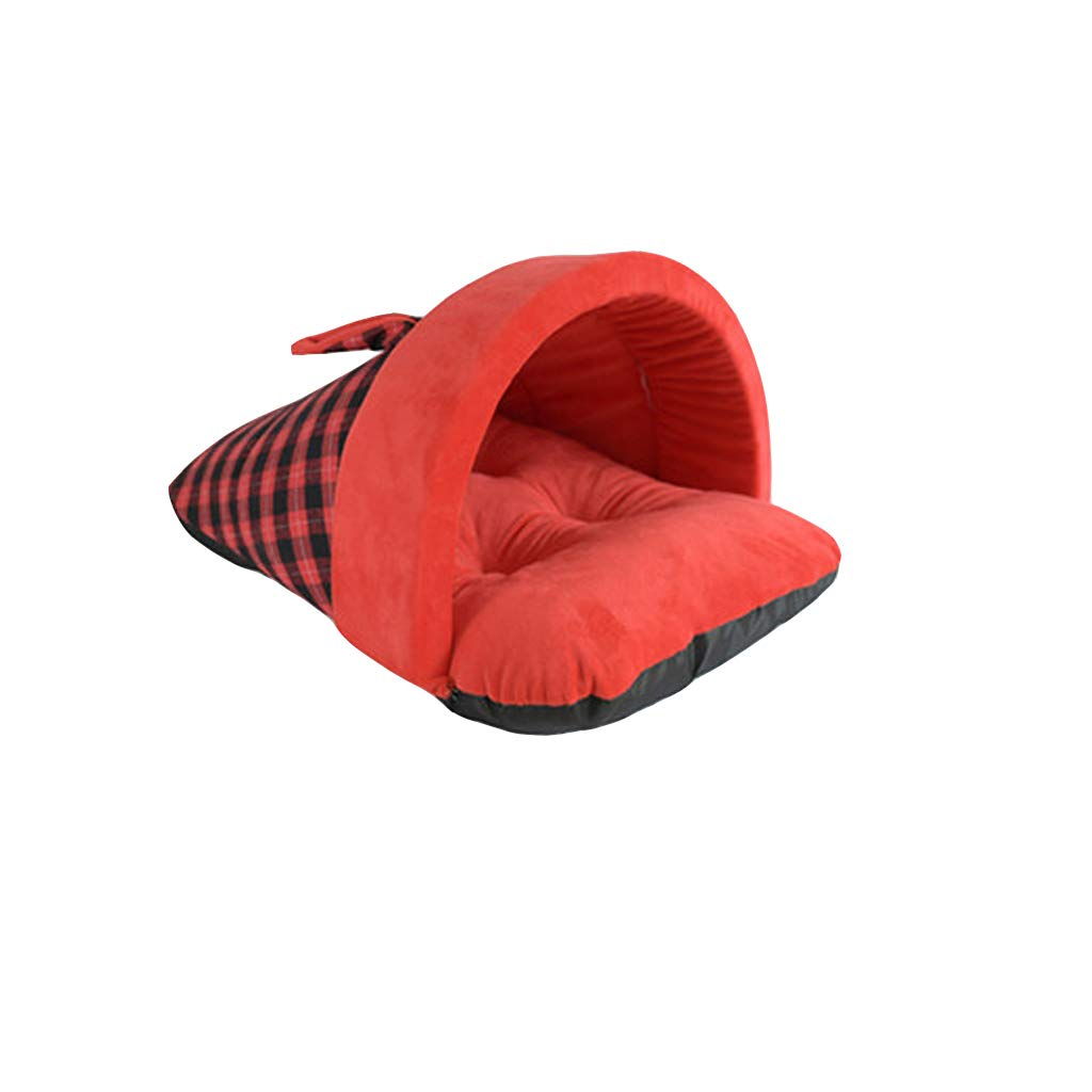 RED S RED S Guofangfang Dog House, Kennel British Style Slippers Semi-closed Kennel Winter Warm Cat Litter Pet Nest Dog Mattress Pet Supplies (color   RED, Size   S)