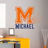 Initial Name Wall Decal Basketball Sports Wall Decals Personalized Initial Name Monogram Nursery Kids Boys Teens Room College Decor