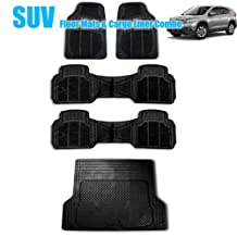 FH GROUP FH-F16404-3ROW+F16400 3 Row Full Set Black All Weather Heavy Duty Auto Floor Mat and Black Trunk Cargo Liner