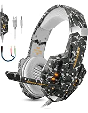 BGOOO Stereo Gaming Headset for PS4, PC, Xbox One,Professional 3.5mm Noise Isolation Over Ear Headphones with Mic, LED Light, Bass Surround, Soft Memory Earmuffs for Laptop Mac Nintendo