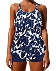 OMKAGI Womens Tankini Bathing Suits Swimdress Tribal Print Swimsuits Boyshort