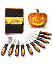 Halloween Pumpkin Carving Tools Kit, 10 Pieces Professional Heavy Duty Stainless Steel Carving Tools, Pumpkin Carving Set with Carrying Case for Halloween Decoration Jack-O-Lanterns