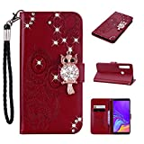 Amocase Wallet Case with Black 2 in 1 Stylus for Samsung Galaxy A9 2018,3D Bling Gems Owl Magnetic Mandala Embossing Premium Strap PU Leather Card Slot Stand Flip Case for Samsung Galaxy A9 2018 - Red Brown