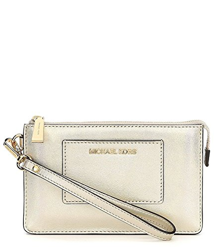 Michael Kors Small Gusset Pocket Silver Leather Zip Top Wristlet - Pale Gold