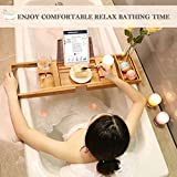 Luxury Bamboo Bathtub Caddy Tub Organizer with Extending Sides, Book Tablet Wine Holder for Bathing Relaxing