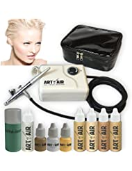 Art of Air FAIR Complexion Professional Airbrush Cosmetic Makeup System/4pc Foundation Set with Blush, Bronzer, Shimmer and Primer Makeup Airbrush Kit