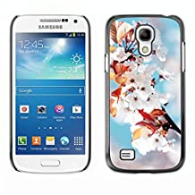 GRECELL CITY GIFT PHONE CASE /// Cellphone Protective Case Hard PC Slim Shell Cover Case for Samsung Galaxy S4 Mini i9190 /// White Flowers