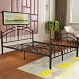 Giantex Metal Bed Frame Queen Size, Mattress Foundation Bed Platform w/Headboard Footboard, Heavy Duty Steel Slabs, Box Spring Replacement, Home Bedroom Furniture, Black