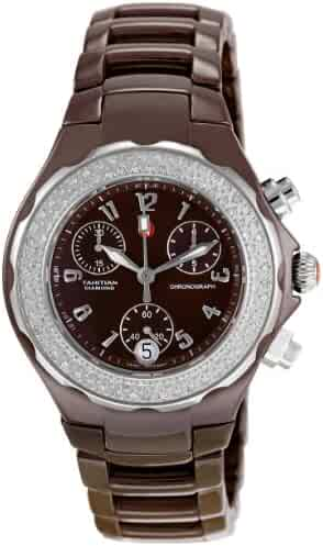 Michele Women's MWW12A000011 Tahitian Diamond Ceramic Chocolate Chronograph Watch