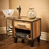 GDF Studio Glendora Industrial Solid Wood Single Drawer End Table Nightstand