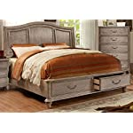 Belgrade Collection Antique Modern Panel Wooden HB Storage FB Platform Eastern King Size Bed Rustic Natural Tone Finish…