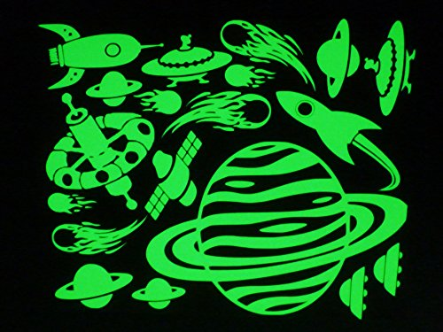 ULTRA BRIGHT Glow in the Dark Planets, Flying Saucers ,Rockets,Comets,Satellites ()