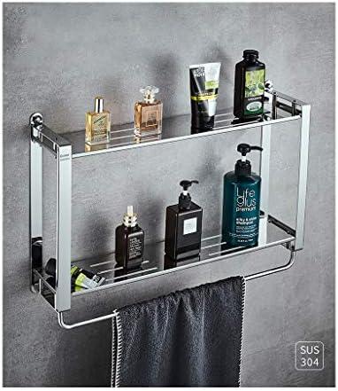 浴室用タオル掛け、二重層、304ステンレススチール、トイレのペンダント、浴室用ラック、パンチフリー、穴あき (Size : 400mm)