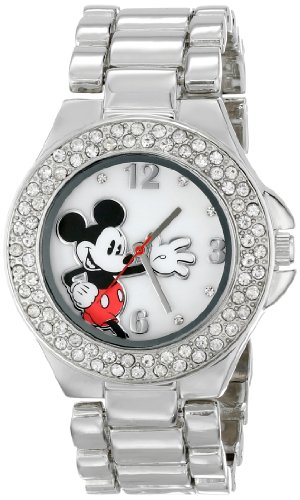 Disney Women's MK2070 Mickey Mouse Mother-of-Pearl Dial Silver-Tone Bracelet Watch - Pearl Tone Dial