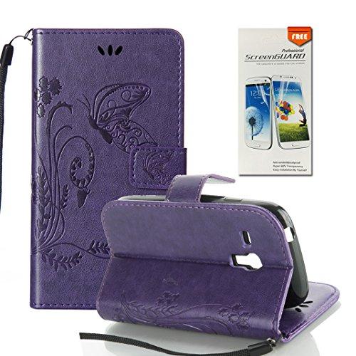 Funda Samsung Galaxy S3 mini OuDu Carcasa de Billetera Casco Patrón de Gofrado Caja Elegante Flor&Mariposa Funda PU Cuero Carcasa Suave Protectora con Correas de Teléfono Funda Arbol Flip Wallet Case  Púrpura