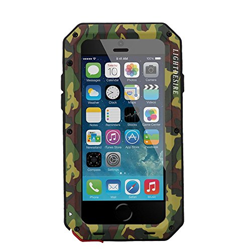 iPhone 5S SE Case LIGHTDESIRE [Newest] Aluminum Alloy Protective Metal Extreme Water Resistant Shockproof Military Bumper Heavy Duty Cover Shell [Camouflage] for iPhone 5S/SE/5